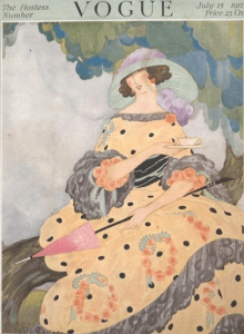 Rita Senger Vogue cover, July 15, 1917, woman drinking tea under tree.
