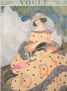 Rita Senger Vogue cover, July 15, 1917, woman drinking tea under tree.
