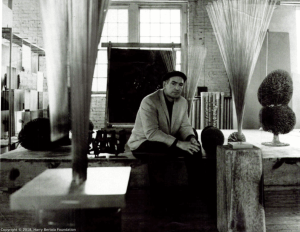 Harry Bertoia in sculpture studio.