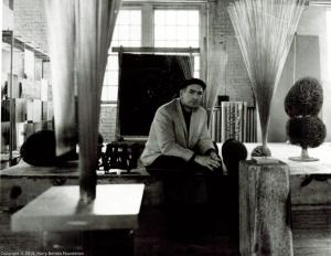 Harry Bertoia in sculpture studio.