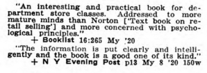 Reviews of Elements of Retail Salesmanship in Book Review Digest, 1920.
