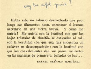 """Al Que Quiere by William Carlos Williams, with handwritten note """"Why the awful Spanish?"""""""