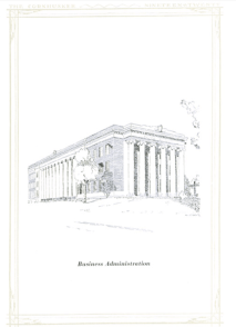Drawing of business administration building, University of Nebraska, 1920