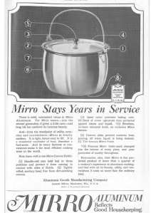 Picture of kettle in Mirro Kettle ad, Ladies' Home Journal, 1920.