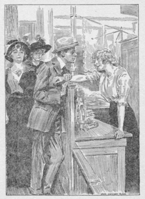 Man talking to woman at store counter, Roast Beef Medium by Edna Ferber