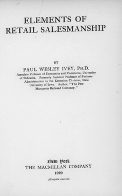 Title page, Elements of Retail Salesmanship by Paul Wesley Ivey