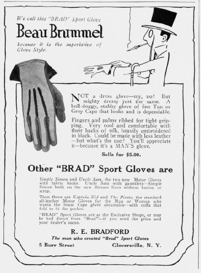 Ad for gloves, Harper's Bazar, February 1918