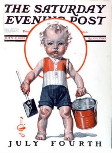 J.C. Leyendecker Saturday Evening Post cover, July 2, 1921, toddler with bucket.